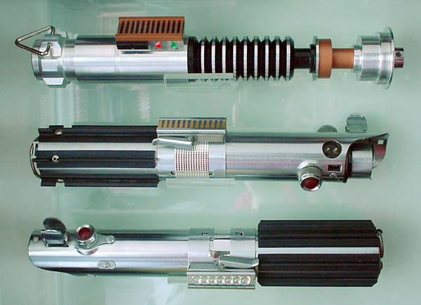 (The Luke Skywalker Lightsabers: ROTJ Version (top), ESB Version (middle),  And ANH Version (bottom).)